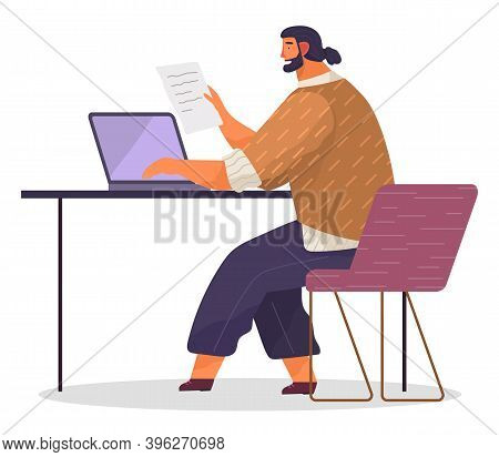 Office Worker At The Table With Paper Document In Hand. Businessman Or A Clerk Working At His Office