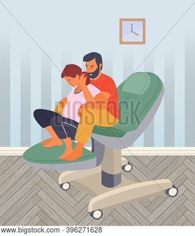 Pregnancy Preparing, Wife And Husband Make A Position Check On A Medical Chair. Exercising For Pregn