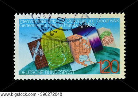 Germany - Circa 1983 : Cancelled Postage Stamp Printed By Germany, That Promotes International Geode