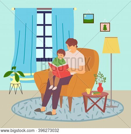Dad Reading Tale To His Little Son, Spends Time At Home With Child . Happy Family, Dad Takes Care Of