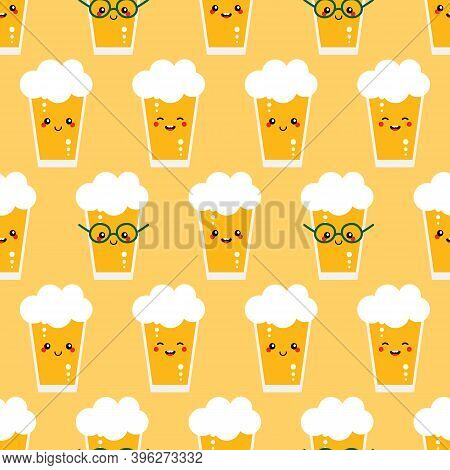 Cute Vector Seamless Pattern Background With Smiling Glasses Of Lager Beer Characters.