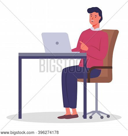 Office Worker Man Sitting Behind A Desk With A Laptop. Businessman Or A Clerk Working At His Office