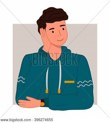 Cute Man Or Young Dreamy Guy Wearing Warm Sweater Vector Illustration. Male Character Holds His Hand