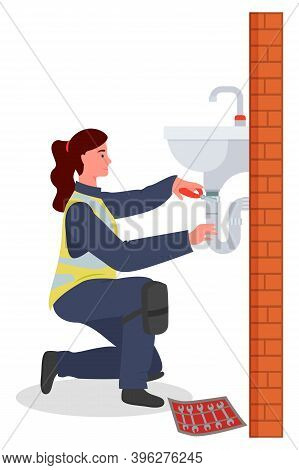 Woman Repairing Sink. Female Plumber Young Character Wearing In Uniform With Tools In Hand. Modern W