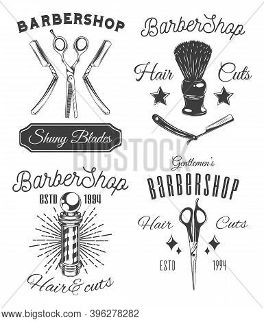 Barbershop Set Of Stickers, Labels, Logo, Stamp, Templates, Advertisement, Print For Typography Shin