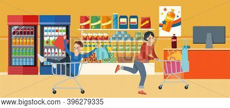 Buyers Are Shopping In The Grocery Store With Purchases In Their Hands. Supermarket Sales And Discou