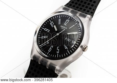Rome, Italy 07.10.2020 - Swatch Simple Fashion Swiss Made Quartz Watch Isolated On White. Transparen