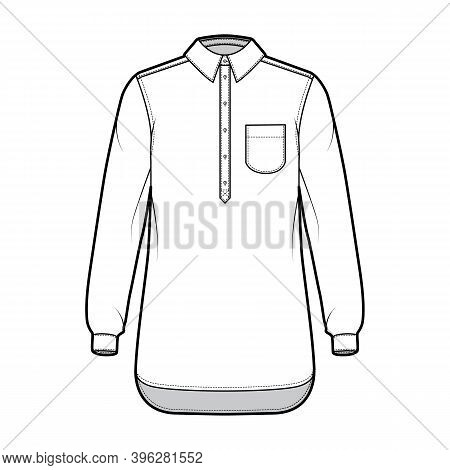 Shirt Pullover Technical Fashion Illustration With Rounded Pocket, Long Sleeves, Relax Fit, Half Pla