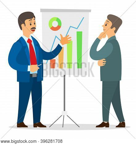 Two Businessmen Looking At Graphs And Diagrams On Board. Man Presenting Financial Plan To Thoughtful