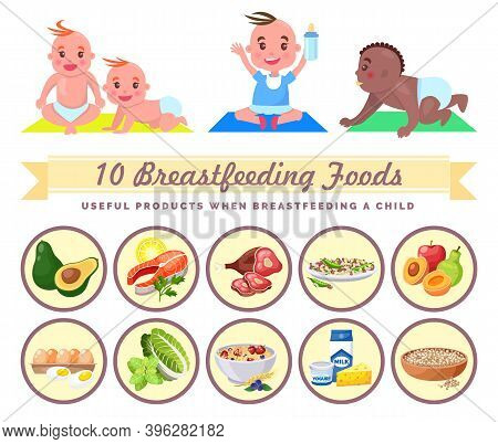 Useful Products When Breastfeeding Child. Collection Of Little Mix Race Babies. Breastfeeding Foods