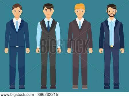 Collection Of Vector Cartoon Characters. Businessman Wearing Suit Or Costume With Coat, Tie, Shirt,