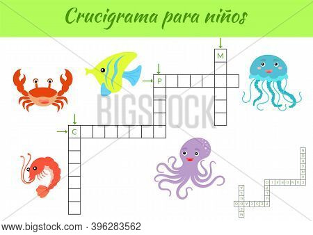 Crucigrama Para Niños - Crossword For Kids. Crossword Game With Pictures. Kids Activity Worksheet Co