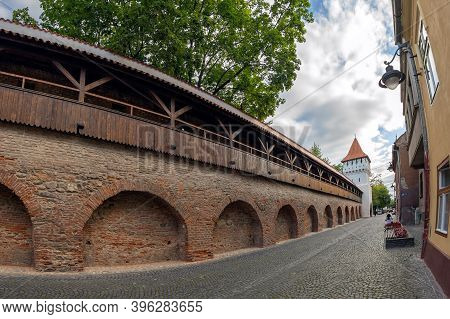 Sibiu, Transylvania, Romania - July 8, 2020: Fortress Street-cetatii Street, To Defence Harquebusier