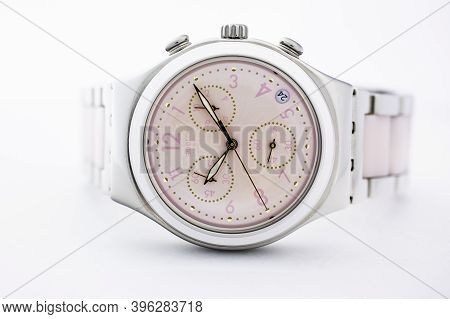 London, Gb 07.10.2020 - Swatch Classic Design Swiss Made Mechanical Watch Close Up. Metal Case, Styl