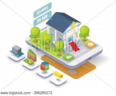 Mobile Banking Vector Isometric Illustration. Online Bank Transactions, Money Transfer, Bank Deposit