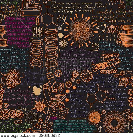Hand-drawn Seamless Pattern On The Theme Of Scientific Research And Education, Medicine, Chemistry.