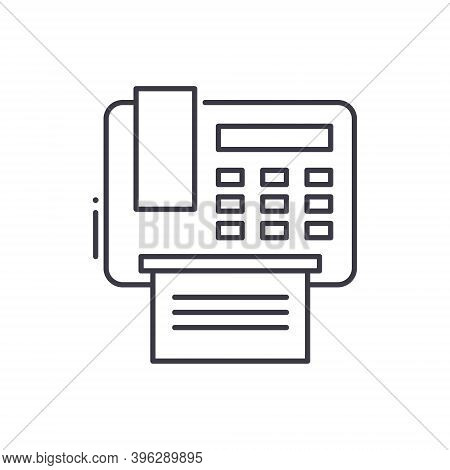 Fax Machine Icon, Linear Isolated Illustration, Thin Line Vector, Web Design Sign, Outline Concept S