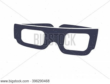 Silhouette Of Cartoon Paper 3d Glasses Front View. Vector Illustration. Stereo Retro Glasses For Thr