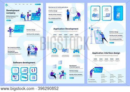 Development Company Flat Landing Page. Software Engineering, Application Development Corporate Websi