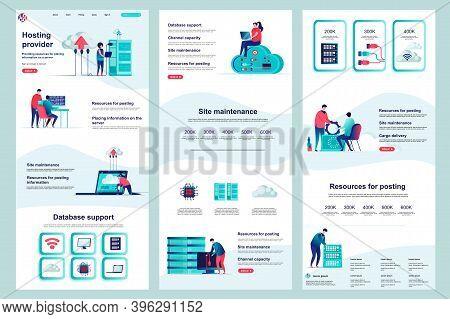 Hosting Provider Flat Landing Page. Database Support, Cloud Data Center Corporate Website Design. We