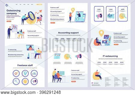 Outsourcing Company Flat Landing Page. It Outsourcing, Freelancers Recruitment Corporate Website Des