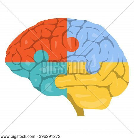 Brain, Creative, Colorful Brain Image In The Form Of Puzzles. Vector, Cartoon Illustration. Vector.