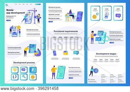 Mobile App Development Flat Landing Page. Smartphone Application Construct And Testing Corporate Web
