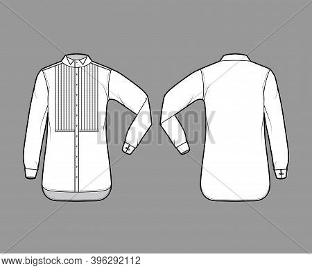 Shirt Tuxedo Dress Technical Fashion Illustration With Pleated Pintucked Bib, Elbow Fold Long Sleeve