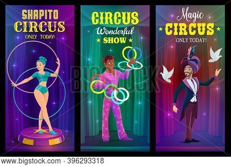 Circus Magician, Juggler And Acrobat Vector Banners Of Chapiteau Carnival Show. Circus Performer Car