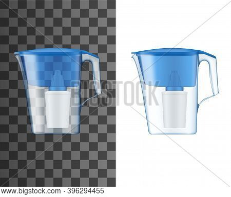 Water Filter Pitcher Or Jug Realistic Mock-up. Home Water Treatment And Purification Plastic Pitcher