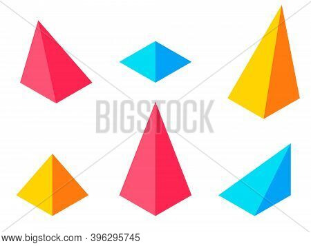 Dimension Isometric Retro Puzzle Figures Colorful Vector Game Pyramids.