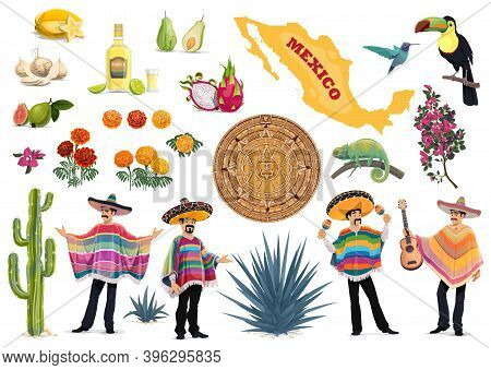 Mexico Vector Set With Mexican Food, Culture And Travel Symbols. Cactus, Guitar, Sombrero And Tequil