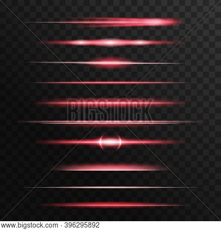 Red Light Flashes, Glow Vector Lines. Glowing Illumination Of Sun Or Starlight Beams, Bursts And Spa