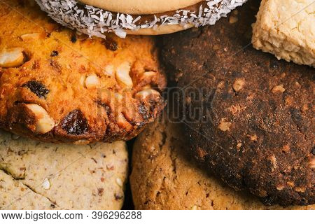 Sweet Food Background. Brown And White Pastry Close-up. Festive Food Preparation. Delicious Dessert