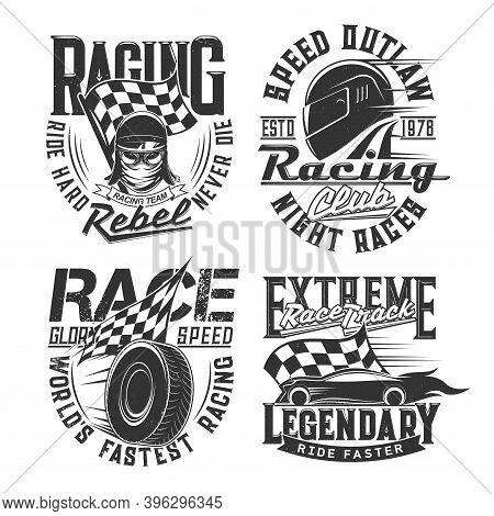 Car Racing Club, Motorsport Team T-shirt Retro Prints. Car Or Motorcycle Race Driver, Racer Modern A
