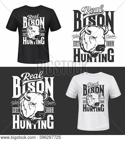 Bison Hunting Retro T-shirt Print Mockup. American Buffalo Head Engraved Monochrome Vector. Big Game