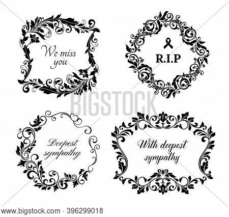 Funeral Cards, Vector Vintage Condolence Floral Wreaths, Ornament With Flourishes And Obituary Typog