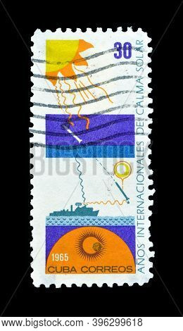 Cuba - Circa 1965 : Cancelled Postage Stamp Printed By Cuba, That Shows Effect Of Solar Rays On Vari