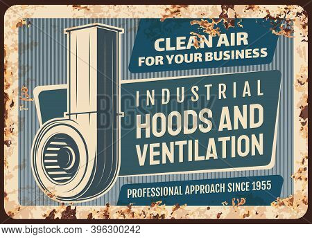 Kitchen Hoods And Ventilation Metal Plate Rusty Vector Retro Poster. Domestic And Industrial Kitchen