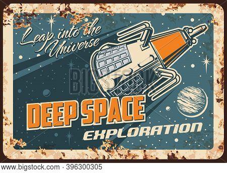Satellite Deep Space Exploration Vector Rusty Metal Plate. Sputnik Galaxy Mission Flying To Alien Pl