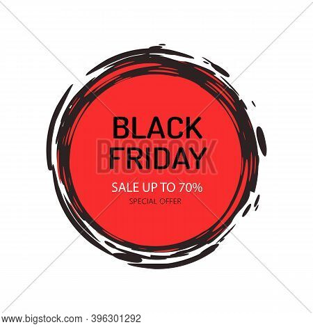 Black Friday Sale And Offers, 70 Percent Price Lower Vector. Isolated Banner Of Circular Shape, Desi