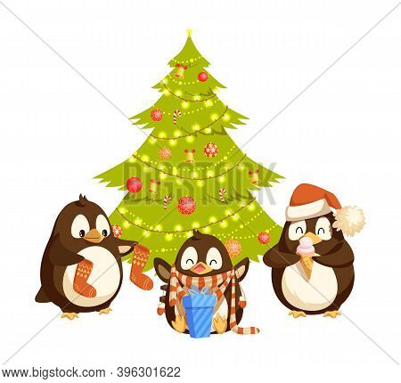 Penguins Holding Socks, Enjoying Gift And Ice-cream. Arctic Bird In Hat And Scarf Near Christmas Tre