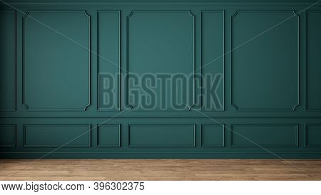 Modern Classic Green Empty Interior With Wall Panels And Wooden Floor. 3d Render Illustration Mock U