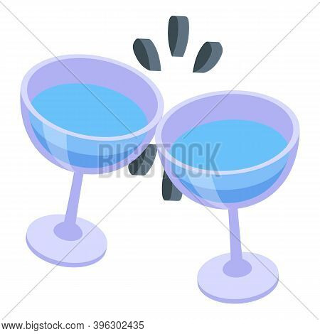 Water Glass Cheers Icon. Isometric Of Water Glass Cheers Vector Icon For Web Design Isolated On Whit