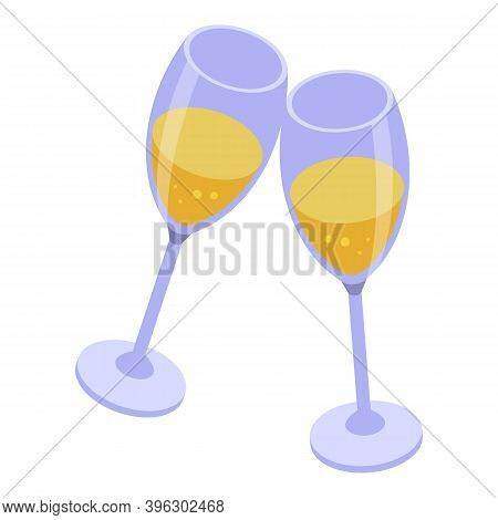 Champagne Glass Cheers Icon. Isometric Of Champagne Glass Cheers Vector Icon For Web Design Isolated