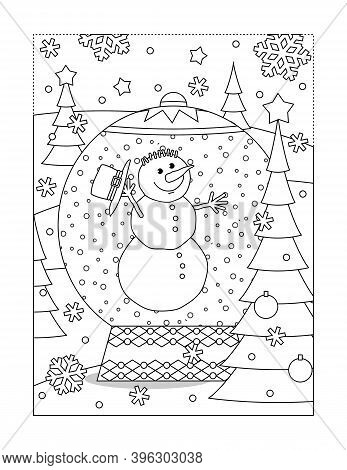 Snowglobe With Funny Snowman And Decorated Fir Tree Coloring Page, Poster, Sign Or Banner Black And