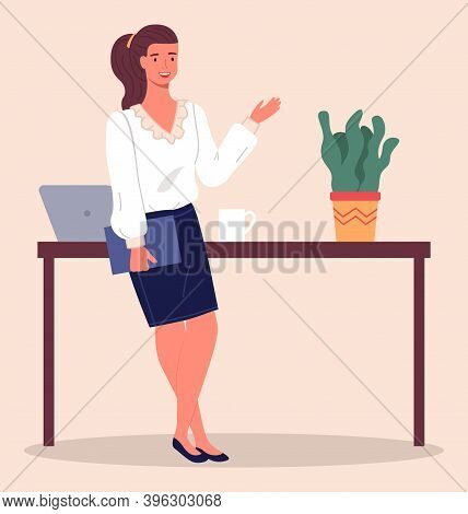 Businesswoman With Ponytail, Wearing Blouse And Skirt, Holding Folder In Hand And Gesturing. Busines