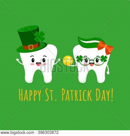 St Patrick Cute Teeth In Leprechaun Hat And In Glasses With Gold Coin. Dental Tooth Irish Character