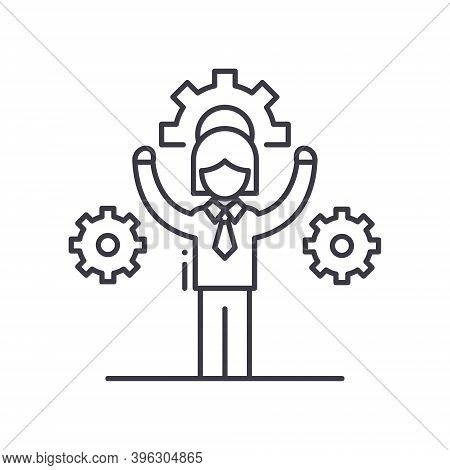 Facilitator Icon, Linear Isolated Illustration, Thin Line Vector, Web Design Sign, Outline Concept S