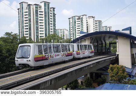 Singapore- 14 Nov, 2020: Self Driving Light Rapid Transit Lrt On Elevated Tracks In Singapore. Lrt I